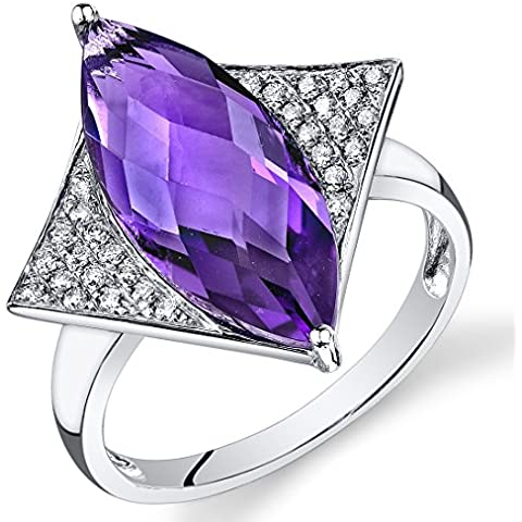 Peora 14K Oro Bianco Marchese Ametista Diamante anello (4.17 centimetritw)