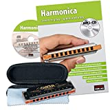 CASCHA HH 1610 EN Professional Blues Harmonica Set - Harmonica avec livre d\'instruction en anglais + MP3-CD