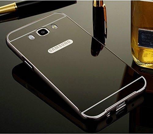 KPH Luxury Mirror Effect Acrylic back + Metal Bumper Case Cover for SAMSUNG GALAXY J5 - (New 2016 Edition) Black