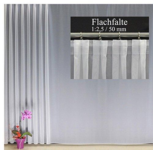 EASYHomefashion Hochwertige Fertiggardine Voile Store mit Faltenband&Bleiband FLACHFALTE 1:2,5/50 mm, Versch. Größen, 225 x 450 cm (HöhexBreite)