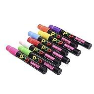 hjuns–Pennarelli a gesso liquido 8pezzi colorato lavabile penne + 8riutilizzabile impermeabile Etichette Lavagna per finestra in vetro