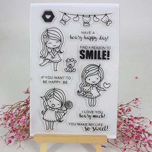 ECMQS Girls DIY Transparente Briefmarke, Silikon Stempel Set, Clear Stamps, Schneiden Schablonen, Bastelei Scrapbooking-Werkzeug
