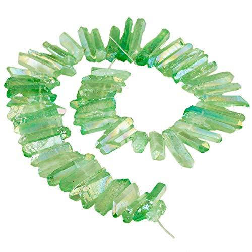 chichtet Kristall Punkt Perlen Grobe Stein Sticks Spikes Natürliche Quarz Gebohrt 15 Zoll Strang Lose Perlen für Schmuck Machen ()