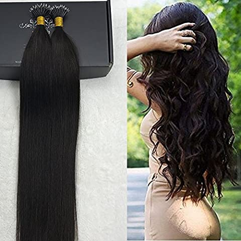 Full Shine Colour #1B 40g 50 Strands Best Pre Bonded Remy Hair Extensions Mrico Beads Nano Tip Black Human Remy Hair Extensions 20 inch 0.8g Per Strand