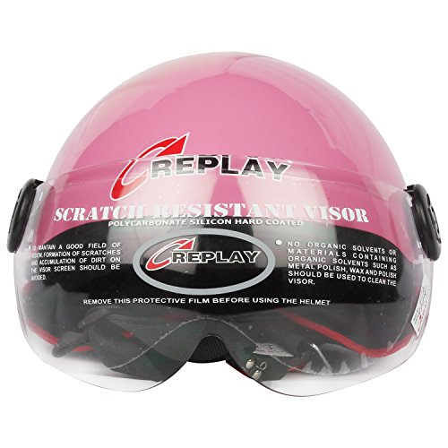 Replay Host Open Face Helmet with Clear Visor (Pink, M)  available at amazon for Rs.429