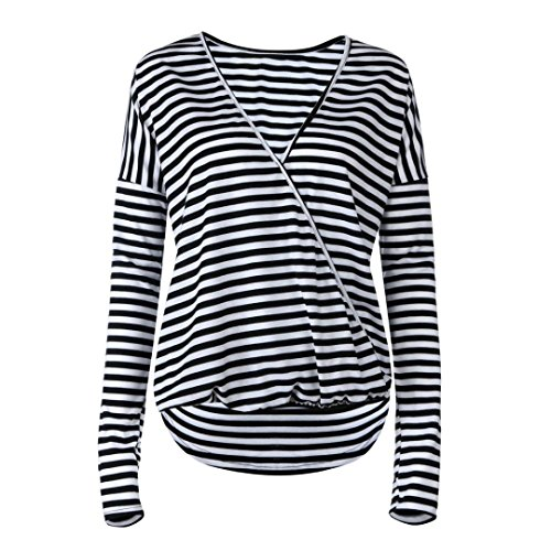 Rcool Damen Gestreift Langarmshirt Damen Langarm Top V-Ausschnitt T-Shirt Oberteil Tops mit Knöpfen Casual Top Shirt Bluse Für Herbst & Frühling (Schwarz, XL) (Gestreift, Top Puff-Ärmel)