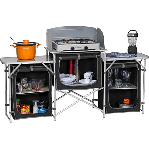 Berger Küchenbox Campingküche XL, Schwarz/Grau, Alu Gestell, 5 Staufächer, mit Windschutz und Tragetasche, Aufbau-Schrank
