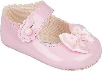 Luxus Britisch gemacht Baypod Weich Synthetik Leder Stil Baby Mädchen Creme / Elfenbein Weiß Rosa Besondere Anlässe Taufe Hochzeit Party Schuhe