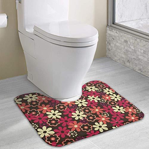 Hoklcvd Personalisierte Toilette Teppich-Schöne Blumen WC U-förmige MatCartoon weiche Matte Dusche Boden Teppich Badezimmer (36 Dusche Tür)