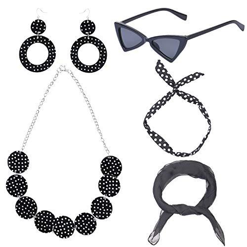 Beefunny 50er Kostüm Schal Polka Dot Stirnband Ohrring Cat Eye Brille Halskette, Zubehör Set (Schwarz)