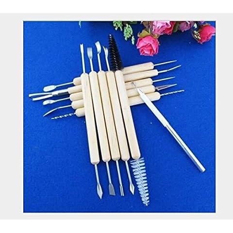 JZK® Set di 11 x Utensili attrezzi strumenti per ceramica, argilla, scultura, intaglio, artigianato sculture, modellazione