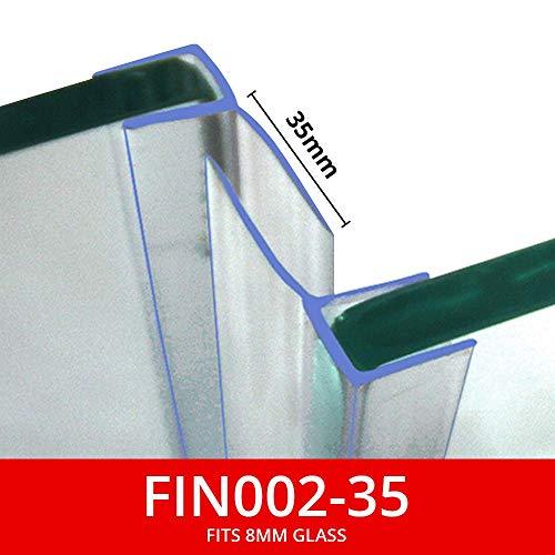 Vertikale Duschdichtungen, Verkauf als Paar, für Fenster oder Türen, 15 oder 25 mm, für 8 mm Glas, 2 m lang, transparent oder Chrom FIN002