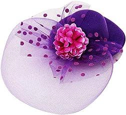 Sanjog Derby Feather Fascinator for Kids/Girls Hat for Wedding Party Birthdays