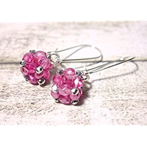 Ohrringe Glasperlenohrringe Ohrringe aus Glasschliffperlen Hängeohrringe Würfel rosa rose siberfarben