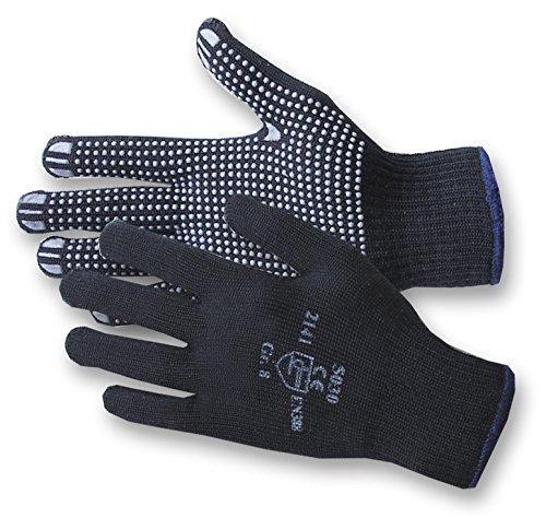 Jah 5030 Baumwolle/Polyester Strickhandschuh 12 Paar Noppen mittelschwer blau Gr. ()