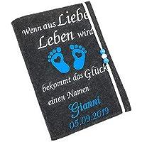 U-Heft Hülle mit Wunschnamen liebe leben Blau