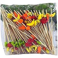 PANDA SUPERSTORE [Frutas] 200 piezas de cóctel de bambú desechables recoge fuentes del partido pincho de bambú