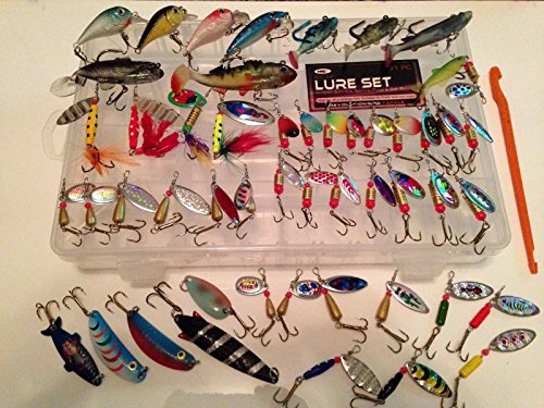 Generic NV _ 1001002594 _ yc-uk2 E boxchu Pike Windspiele FISCH 51 Stück Pinne Set Kunstköder T Lure (Blasinstrument) Stange, Chub FT BA Weiche Köder + Tackle Box 51 Piec