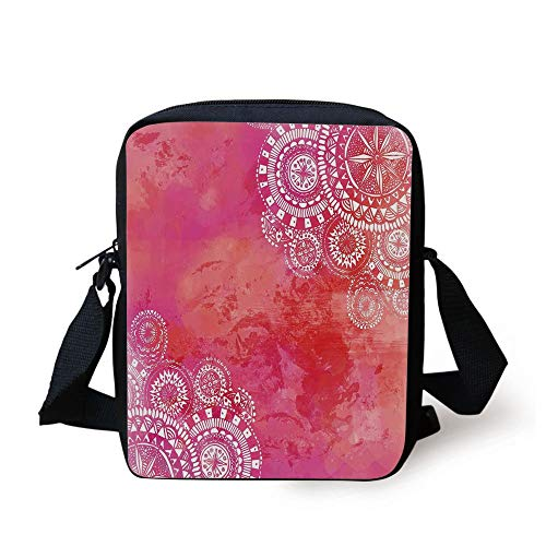 Mandala,Pink Watercolor Paint Background with White Hand Drawn Doodles Asian Motifs,Pink Coral White Print Kids Crossbody Messenger Bag Purse (Ball Pink Paint Guns)