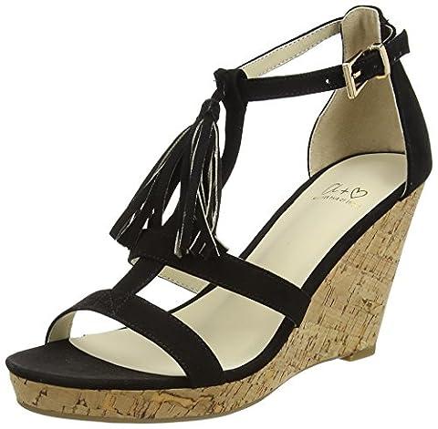 Another Pair of Shoes WyonaaK3, Damen Durchgängies Plateau Sandalen, Schwarz (black01), 38 EU