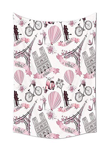 daawqee Eiffel Tower Collection Paris Symbols Travel In Paris Honeymoon Flowers Romance Hot Air Balloon Bike Bedroom Living Room Dorm Wall Tapestry Unique Home Decor