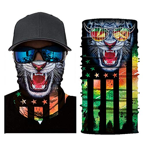 HONGYUANZHANG 5PCS Cappuccio da Bicicletta Multifunzione Maschera Tigre Collo in Fibra di Poliestere Senza Cuciture (25 X 50 Cm), Bianco, Codice Uniform