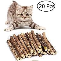 Umiwe Matatabi Katze kausticks, Katzenminze Sticks Katze Reinigung Zähne Bio Spielzeug natürliche Pflanze Kauen Sticks Katze Zähne Reinigung Kauspielzeug (20 Stück)