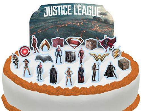 Essbare Justice League Szene Kuchen Topper (Tortenaufleger, Bedruckte Oblaten, Oblatenaufleger) ()