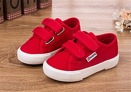 Wealsex Basket Basse Toile Sneakers Scratch Mixte Enfant Garçon Fille Rouge