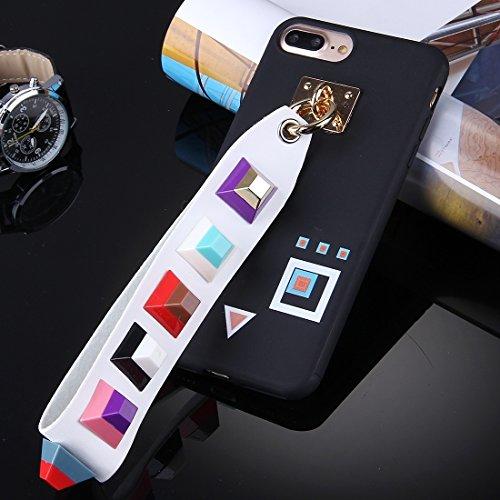 Hülle für iPhone 7 plus , Schutzhülle Für iPhone 7 Plus Orange quadratisches Augenmuster Soft TPU Schutzhülle mit Niet Lanyard ,hülle für iPhone 7 plus , case for iphone 7 plus ( SKU : Ip7p1675d ) Ip7p1675c