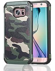Galaxy S7 Edge Funda,Vegbirt S7 Edge Funda,Serie de Camuflaje para Trabajo Pesado de Doble Capa a Prueba de Golpes Caso de la Cubierta para Samsung Galaxy S7 Edge (Camuflaje Verde)