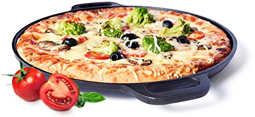 Sandford Gusseiserne Grill-Pfanne/Pizzapfanne (Durchmesser 35 cm) mit Henkeln zum Kochen, Backen und Grillen | Ein MUSS für jeden Hobby Grillmeister und Gusseisen-Fan | Super langlebig & robust