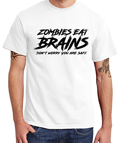 -- Zombies Eat Brains Don't Worry you are safe -- Boys T-Shirt Weiss, Größe XXL