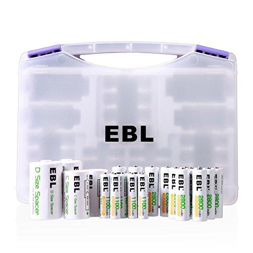 EBL AA AAA Akku Set inkl. 8*AAA Akkus, 12*AA wiederaufladbare Batterien, 2*C/D Batterieadapte, 1*Akkubox