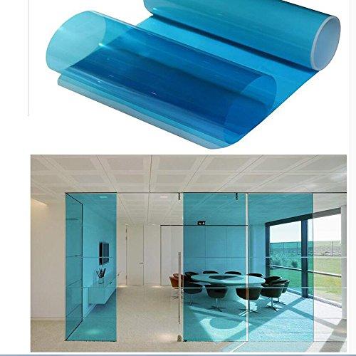 HOHO Colorful getönte Fenster Folie selbstklebend Hitze Kontrolle Deko Glas, 50x 499,9cm, blau, - Fenster-folie Getönte