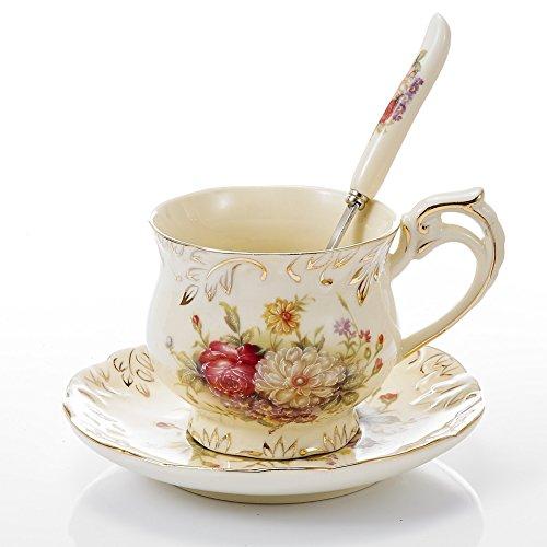 Panbado Porzellan Kaffeetasse 250 ml mit Untertasse und Löffel aus Elfenbein Porzellan,...