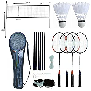 Professional Badminton Set 4 Player Racket Shuttlecock Poles Net Bag Game 589751 Review 2018 from Sohler By Eurotrade W Ltd