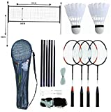 PROFESSIONAL BADMINTON SET 4 PLAYER RACKET SHUTTLECOCK POLES NET BAG GAME 589751 - BADMINTON SET - amazon.co.uk