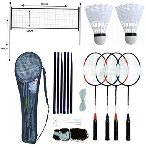 BADMINTON SET Professional 4 Player Racket Shuttlecock Poles NET Bag Game 211074, Shuttle