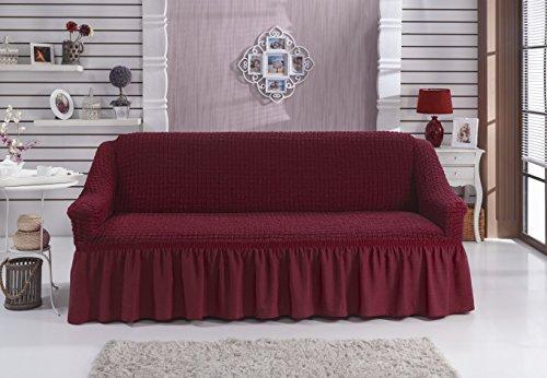 Stretch 2-Sitzer-Bezug in weinrot / rot / bordo / bordeaux   hochwertiger 2-Sitzer-Husse aus Baumwolle & Polyester   elastischer Sofa-Husse 2-Sitzer   bielastischer Sofa-Bezug 2-Sitzer   super elastisch  