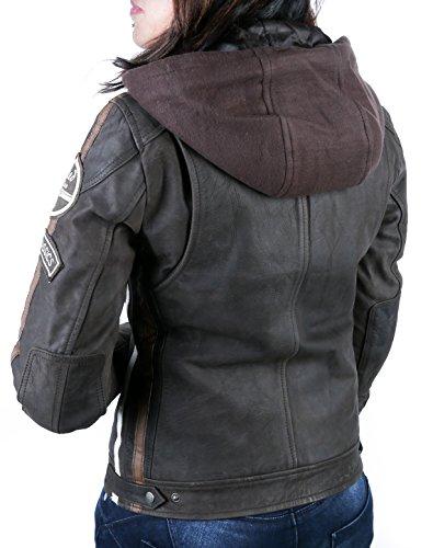 Damen Motorradjacke mit Protektoren, Braun, Große : S - 2