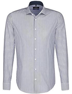 SEIDENSTICKER Herren Hemd Tailored 1/1-Arm Bügelfrei Streifen City-Hemd Kent-Kragen Kombimanschette weitenverstellbar