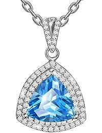 MARENJA - Collier Fantaisie Femme - Pendentif Bleu avec Chaîne – Bijoux Cristal en Plaqué Or Blanc 44+5cm