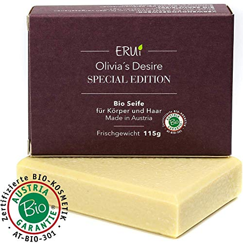 *NEU* ERUi® Nachhaltige 100% Bio Olivenölseife naturrein - Speziell für Körper und Haare - Handgemachte reine Oliven-Seife - Natürliche Naturseife vegan, ohne Palmöl & Plastik (1 x 115g) -