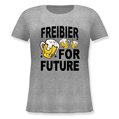 Oktoberfest Damen - Freibier for Future - 3 Biergläser - schwarz - S (44) - Grau meliert - JHK601 - Lockeres Damen-Shirt in großen Größen mit - 90 S Themen Kostüm Männer