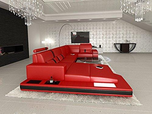 Rot-schwarz-leder-sofa (Sofa Dreams Leder Wohnlandschaft Messana U Form rot-schwarz)