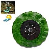 BovoYa Solar-Springbrunnenpumpe, 1.4W Lotusblatt schwimmende bürstenlose Wasserpumpe mit monokristallinem Solarpanel für Vogelbad Gartenteichdekoration