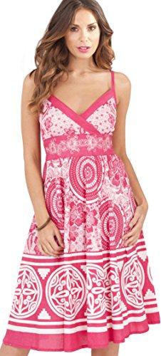 Plissiertes Baumwollkleid für Damen mit Blumenmotiv von Pistachio, Lang oder Kurz, blau, violett Pink Circle