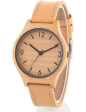 woodfan Damen-Bambus Holz Quarz Weiches Leder Armbanduhr