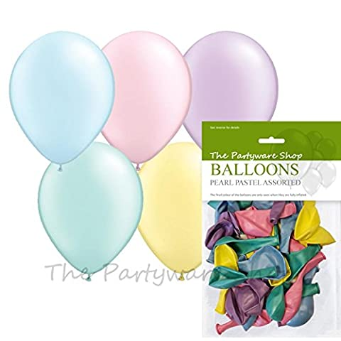 The Partyware Shop Pack of 30 Assorted Pastel Pearlised 11 Inch Helium Quality Latex Balloons